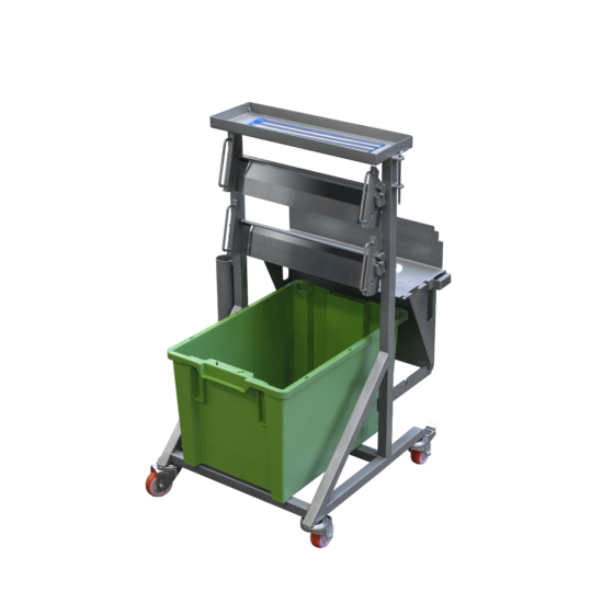 Trolley filled with machine components of ST700TV Manual tabletop skinning machine
