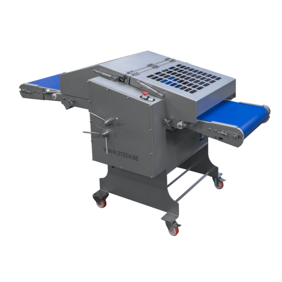 Automatic short poultry skinning machine with optional long outfeed conveyor