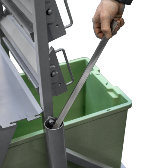 Tabletop fish skinning machine - rack for machine components with blade disposal container