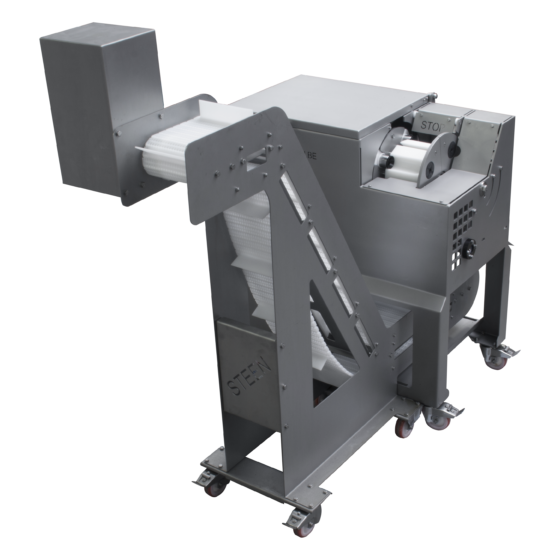 Automatic chicken deboner ST828 STEEN for prime wing (drumettes) thigh and drum with high outfeed belt.