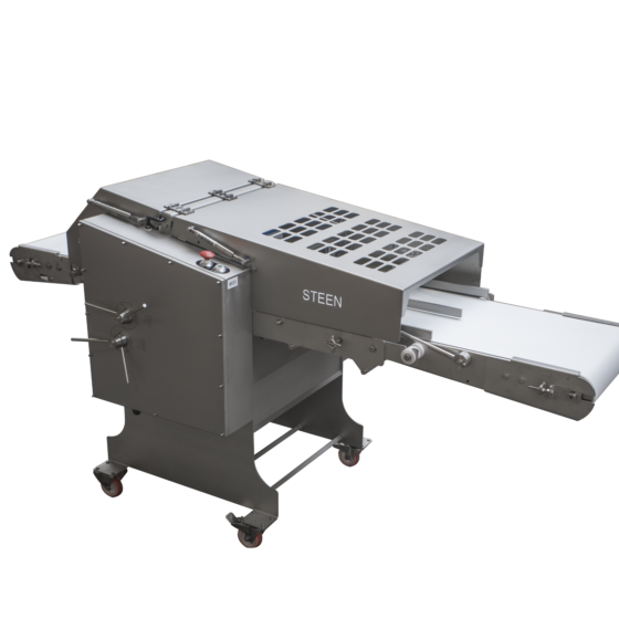 Automatic short poultry skinning machine with optional long conveyor