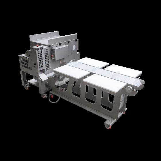 STEEN ST832 - Automatic chicken kneecap deboning machine with trimming belt for 4 operators - dark meat deboner for cartilage free meat.
